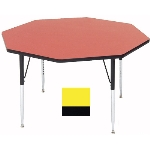 "Correll A48-OCT 38 Activity Table w/ 1.25"" High Pressure Top, 48"" Octagonal, Yellow"