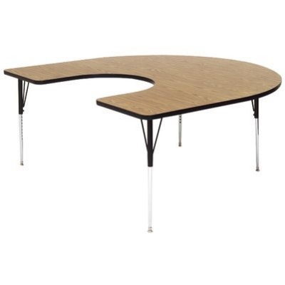 Correll A6066-HOR 06 Horseshoe Activity Table w/ Oak High Pressure Top, 60 x 66-in