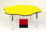 "Correll A60-FLR 35 Activity Table w/ 1.25"" High Pressure Top, 48"" Flower Shape, Red"