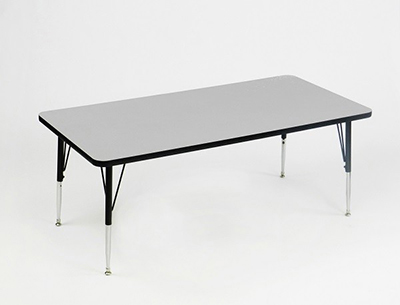 "Correll AM3072-REC 15 Rectangular Activity Table w/ Melamine Top, 30x72"", Gray Granite"