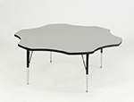 Correll AM60-FLR 15 60-in Flower-Shaped Activity Table w/ Melamine Top, Gray Granite