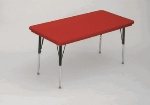 "Correll AR2448-REC 25SL Free-Standing Activity Table, Adjusts to 25"", 24 x 48"", Red"