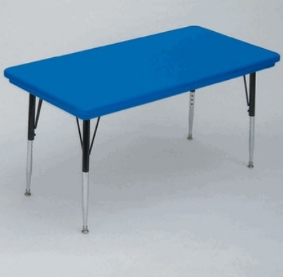 "Correll AR2448-REC 27SL Free-Standing Activity Table, Adjusts to 25"", 24 x 48"", Blue"