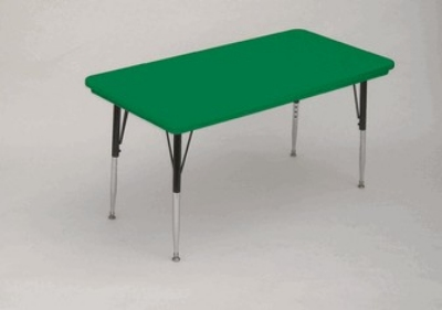 "Correll AR2448-REC 29SL Free-Standing Activity Table, Adjusts to 25"", 24 x 48"", Green"