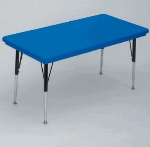 "Correll AR3072-REC 27 Free-Standing Activity Table, Adjusts to 30"", 30 x 72"", Blue"