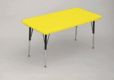 "Correll AR3072-REC 28 Free-Standing Activity Table, Adjusts to 30"", 30 x 72"", Yellow"