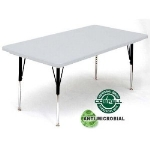 "Correll AR3072-AM 162523 Anti-Microbial Activity Table, Adjusts To 25"", 30 x 72"", Gray Granite/Black"
