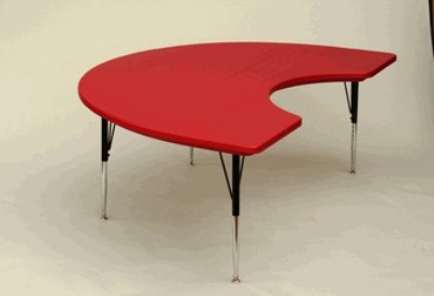 "Correll AR4872-KID 25 Free-Standing Activity Table, Adjust to 30"", Kidney Shape, 48 x 72"", Red"