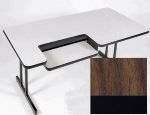 "Correll BL3048 01 Bi-Level Work Station w/ 1.25"" High Pressure Top, 30 x 48"", Walnut/Black"