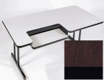 "Correll BL3072 20 Bi-Level Work Station w/ 1.25"" High Pressure Top, 30 x 72"", Mahogany/Black"