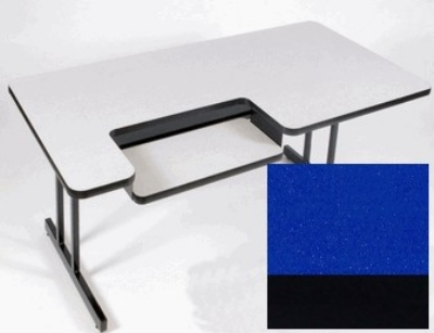 "Correll BL3072 27 Bi-Level Work Station w/ 1.25"" High Pressure Top, 30 x 72"", Blue/Black"
