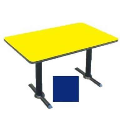"Correll BTT3060 27 30 x 60"" Bar Cafe Table w/ 1.25"" Pressure Top, T-Base, 29"" H, Blue/Black"