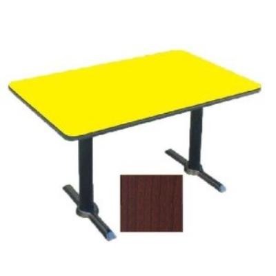 "Correll BTT3048 21 30 x 48"" Bar Cafe Table w/ 1.25"" Pressure Top, T-Base, 29"" H, Cherry/Black"