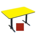 "Correll BTT3060 25 30 x 60"" Bar Cafe Table w/ 1.25"" Pressure Top, T-Base, 29"" H, Red/Black"