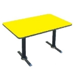 "Correll BTT3048 28 30 x 48"" Bar Cafe Table w/ 1.25"" Pressure Top, T-Base, 29"" H, Yellow/Black"
