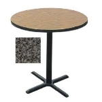 "Correll BXB24R 24"" Round Bar Cafe Table w/ 1.25"" Pressure Top, 42"" H, Black Granite/Black"