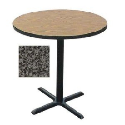 "Correll BXB42R 42"" Round Bar Cafe Table w/ 1.25"" Pressure Top, 42"" H, Black Granite/Black"
