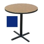 "Correll BXB30R 27 30"" Round Bar Cafe Table w/ 1.25"" Pressure Top, 42"" H, Blue/Black"