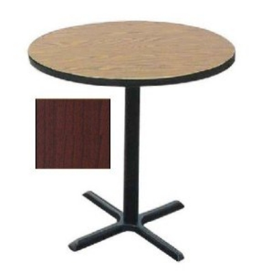 "Correll BXB30R 21 30"" Round Bar Cafe Table w/ 1.25"" Pressure Top, 42"" H, Cherry/Black"