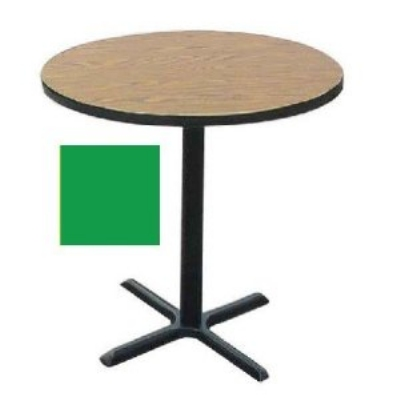 "Correll BXB30R 29 30"" Round Bar Cafe Table w/ 1.25"" Pressure Top, 42"" H, Green/Black"