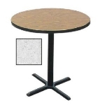 Correll BXB24R 15 24-in Round Bar Cafe Table w/ 1.25-in Pressure Top, 42-in H, Gray Granite/Black