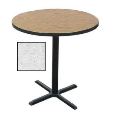 "Correll BXB24R 15 24"" Round Bar Cafe Table w/ 1.25"" Pressure Top, 42"" H, Gray Granite/Black"
