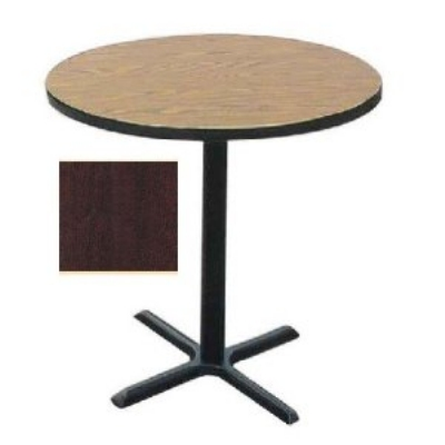 Correll BXB30R 20 30-in Round Bar Cafe Table, 1.25-in Pressure Top, 42-in H, Mahogany/Black