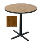 "Correll BXB30R 06 30"" Round Bar Cafe Table w/ 1.25"" Pressure Top, 42"" H, Oak/Black"