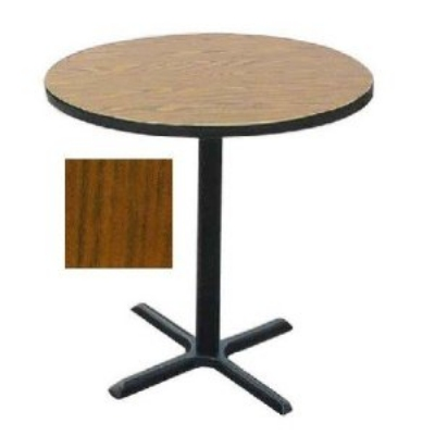 "Correll BXB36R 06 36"" Round Bar Cafe Table w/ 1.25"" Pressure Top, 42"" H, Oak/Black"