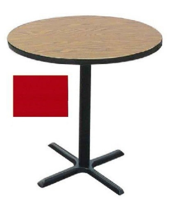 "Correll BXB30R 25 30"" Round Bar Cafe Table w/ 1.25"" Pressure Top, 42"" H, Red/Black"