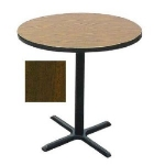 "Correll BXB24R 01 24"" Round Bar Cafe Table w/ 1.25"" Top, 42"" H, Cast Iron Base, Walnut/Black"