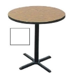 "Correll BXB42R 36 42"" Round Bar Cafe Table w/ 1.25"" Pressure Top, 42"" H, White/Black"