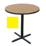 "Correll BXB30R 28 30"" Round Bar Cafe Table w/ 1.25"" Pressure Top, 42"" H, Yellow/Black"
