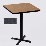 "Correll BXB24S 24"" Square Bar Cafe Table, 1.25"" Pressure Top, 42"" H, Black Granite/Black"