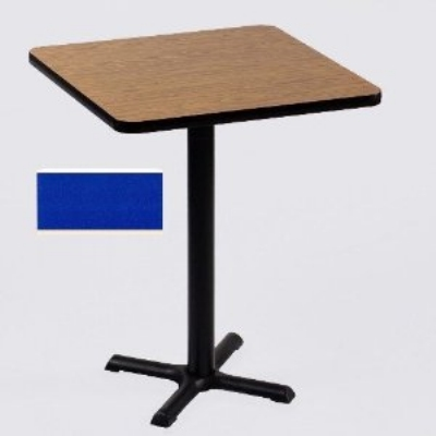 "Correll BXB42S 27 42"" Square Bar Cafe Table w/ 1.25"" Pressure Top, 42"" H, Blue/Black"