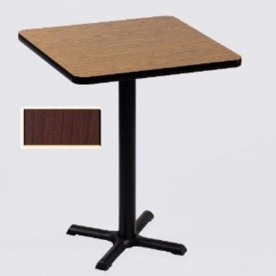 "Correll BXB36S 21 36"" Square Bar Cafe Table w/ 1.25"" Pressure Top, 42"" H, Cherry/Black"
