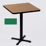 "Correll BXB36S 29 36"" Square Bar Cafe Table w/ 1.25"" Pressure Top, 42"" H, Green/Black"