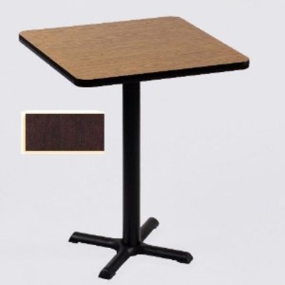 "Correll BXB42S 20 42"" Square Bar Cafe Table, 1.25"" Pressure Top, 42"" H, Mahogany/Black"