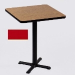 "Correll BXB36S 25 36"" Square Bar Cafe Table w/ 1.25"" Pressure Top, 42"" H, Red/Black"