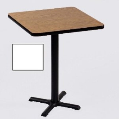 "Correll BXB36S 36 36"" Square Bar Cafe Table w/ 1.25"" Pressure Top, 42"" H, White/Black"