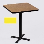 "Correll BXB36S 28 36"" Square Bar Cafe Table w/ 1.25"" Pressure Top, 42"" H, Yellow/Black"