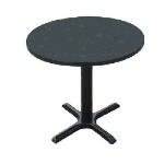 "Correll BXT42R 42"" Round Bar Cafe Table w/ 1.25"" Pressure Top, 29"" H, Black Granite/Black"