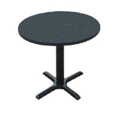 "Correll BXT24R 07 24"" Round Bar Cafe Table w/ 1.25"" Pressure Top, 29"" H, Black Granite/Black"