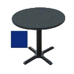 "Correll BXT30R 27 30"" Round Bar Cafe Table w/ 1.25"" Pressure Top, 29"" H, Blue/Black"