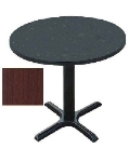 "Correll BXT48R 21 48"" Round Bar Cafe Table w/ 1.25"" Pressure Top, 29"" H, Cherry/Black"