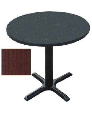 "Correll BXT36R 21 36"" Round Bar Cafe Table w/ 1.25"" Pressure Top, 29"" H, Cherry/Black"