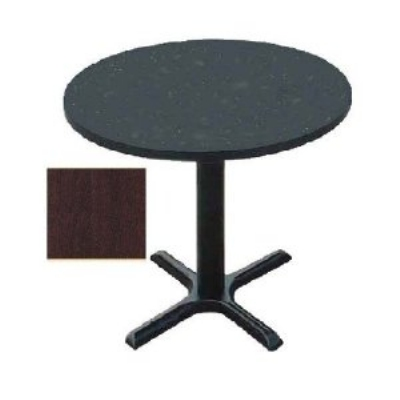 "Correll BXT24R 20 24"" Round Bar Cafe Table, 1.25"" Pressure Top, 29"" H, Mahogany/Black"