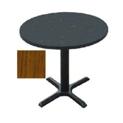 "Correll BXT36R 06 36"" Round Bar Cafe Table w/ 1.25"" Pressure Top, 29"" H, Oak/Black"