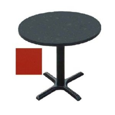 "Correll BXT48R 25 48"" Round Bar Cafe Table w/ 1.25"" Pressure Top, 29"" H, Red/Black"