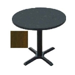 "Correll BXT24R 01 24"" Round Bar Cafe Table w/ 1.25"" Top, 29"" H, Cast Iron Base, Walnut/Black"